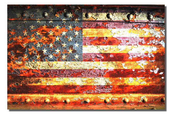 American Flag on Rusted Door -  Small Metal Plate