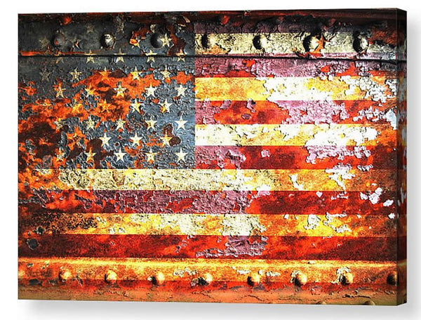 American Flag Print - American Flag On Rusted Riveted Metal Door Print on Canvas