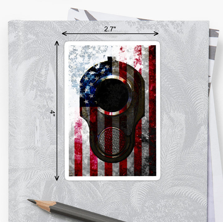 Picture of American Flag & Colt M1911 Muzzle Sticker by FreedomGiftsUSA