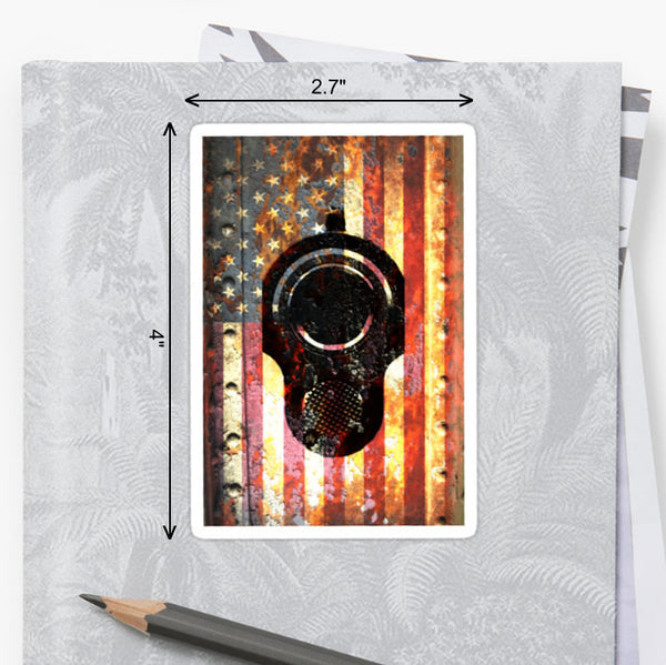 Picture of Rusted American Flag & Colt M1911 Sticker by FreedomGiftsUSA