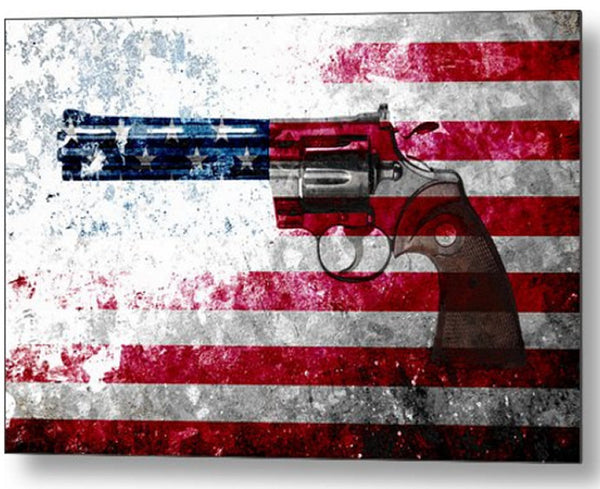 Colt Python & American Flag On Distressed Metal Sheet - Metal Print.