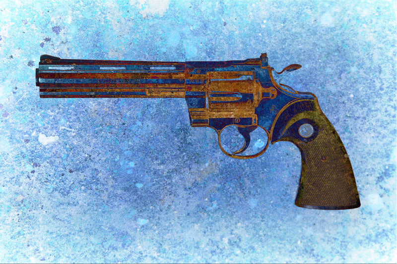 Colt Python 357 Magnum On Blue Background