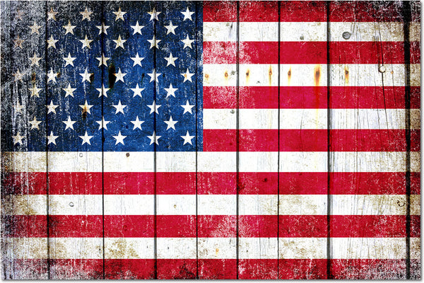Distressed American Flag on Wood Horizontal Print - Large Magnet