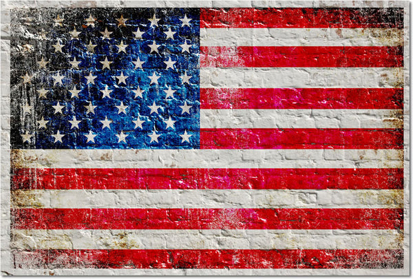 Distressed American Flag on White Brick Wall Horizontal - Small Metal Plate
