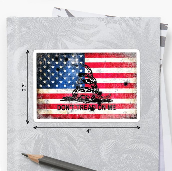 American Flag & Viper - Don't Tread on Me - Bullet Holes Sticker by FreedomGiftsUSA