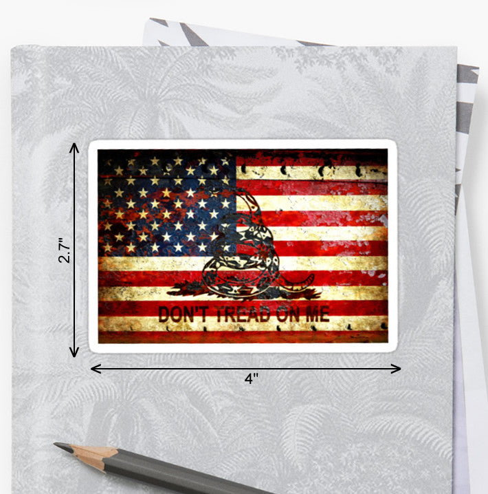 American Flag & Viper on Rusted Door - Don't Tread on Me -  Sticker by FreedomGiftUSA
