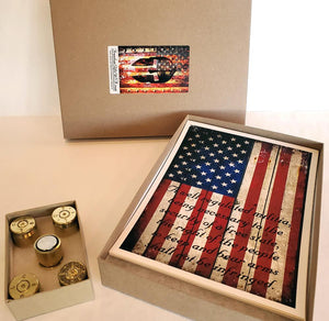 Five Pro 2nd Amendment Art Print Gift Set and five 50 caliber brass