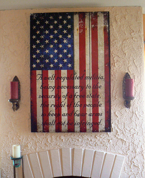 American Flag & 2nd Amendment Vertical Print on Canvas Hung on Fireplace