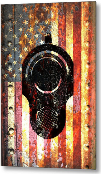 American Flag & Colt M1911 Muzzle on Rusted Metal - Metal Print