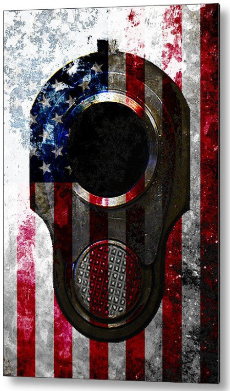 Colt M1911 Muzzle and American Flag On Distressed Metal Sheet - Metal Print.