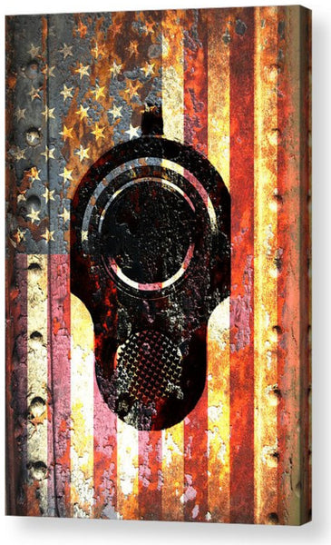 American Flag & Colt M1911 Muzzle on Rusted Metal Vertical Print on Canvas