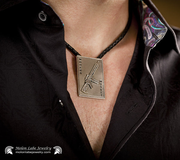 Unisex Gun Jewelry AR15 Riffle and 2nd Amendment Sterling Silver Pendant on Male Model