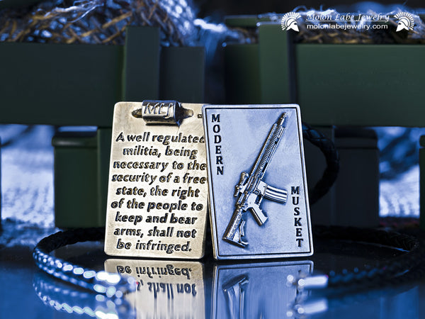 Unisex Gun Jewelry - AR15 Riffle and 2nd Amendment Sterling Silver Pendant