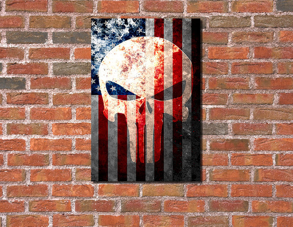 Picture of Distressed American Flag & Punisher Skull Vertical Print Hung on Brick Wall