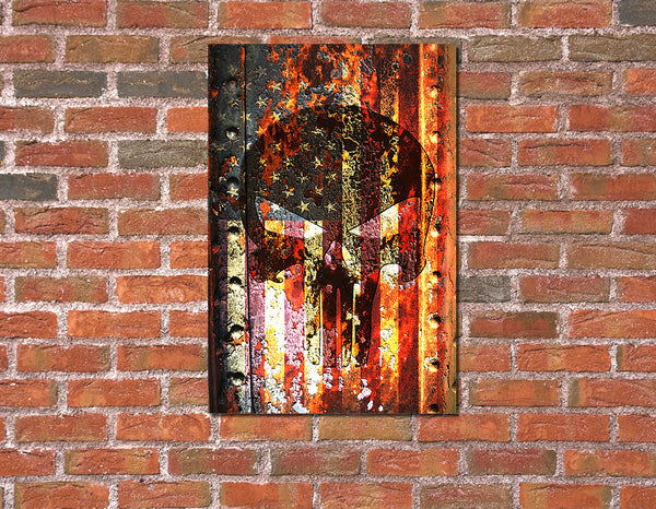 Picture of American Flag & Punisher Skull on Rusted Metal Hung on Brick Wall