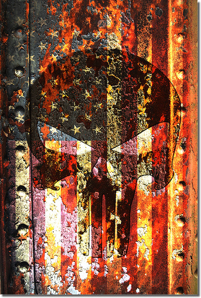 Picture of American Flag & Punisher Skull on Rusted Metal