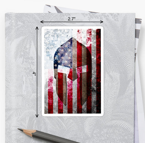 American Flag & Spartan Helmet on Metal - Molon Labe -  Sticker by FreedomGiftsUSA