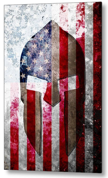 Spartan Helmet and American Flag On Distressed Metal Sheet - Metal Print.