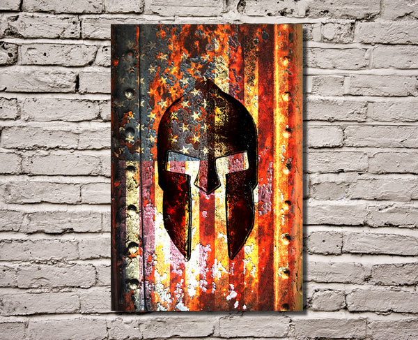 Molon Labe Print - American Flag & Spartan Helmet on Rusted Metal Vertical Print on Canvas Hung