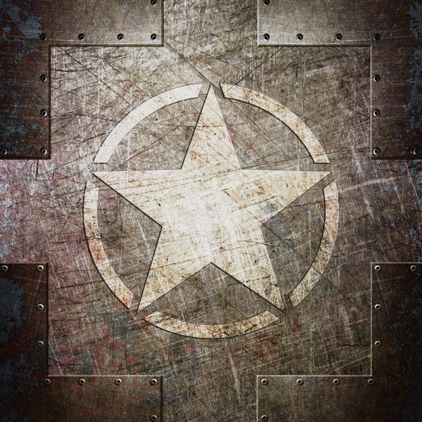 This beautiful art print depicts an Army Star on a distressed, riveted steel plate.