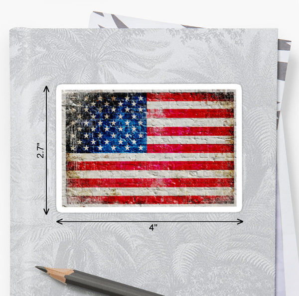 Picture  of American Flag on White Brick Wall Sticker - Horizontal by FreedomGiftsUSA
