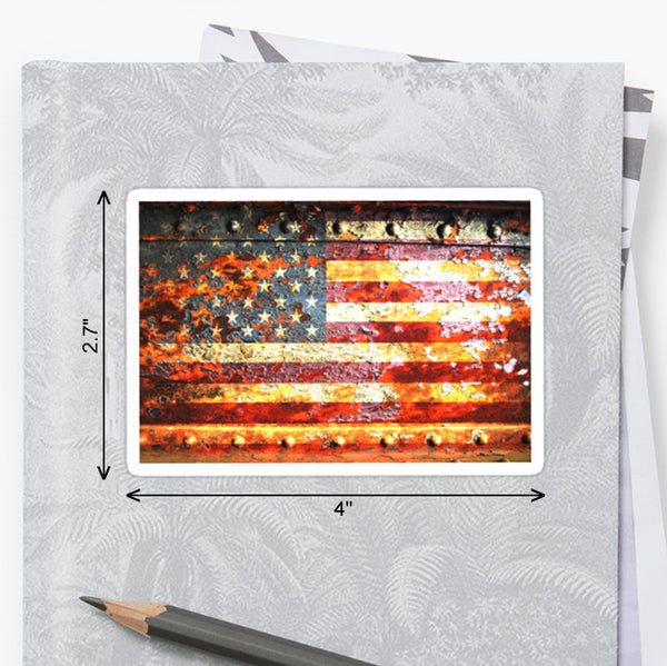 Picture of American Flag on Rusted Metal Door Sticker by FreedomGiftsUSA