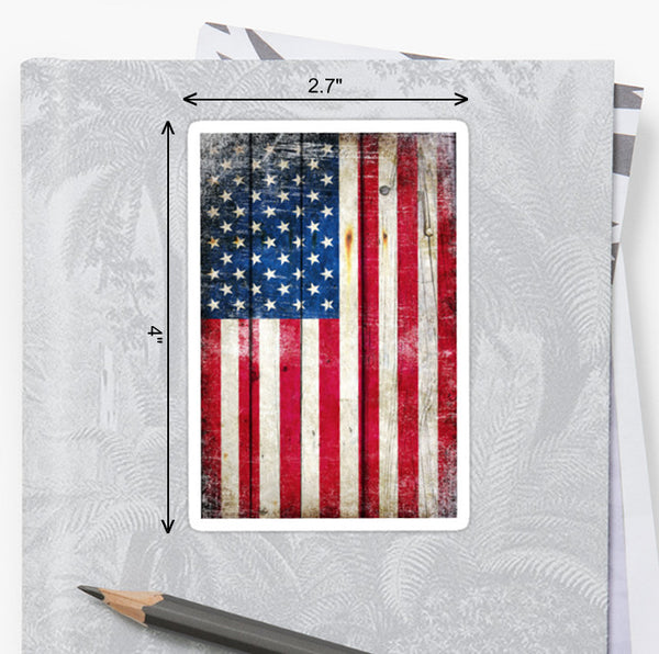 Picture of American Flag on Old Wood Planks Sticker by FreedomGiftsUSA