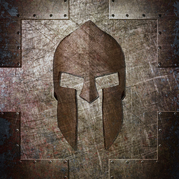 Molon Labe - Spartan Helmet on Riveted steel Art Print