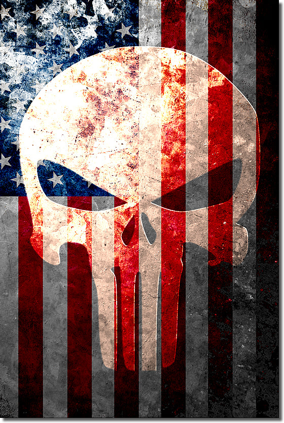 Distressed American Flag & Punisher Themed Skull Vertical Print - 12 X 18 -  Archival Paper