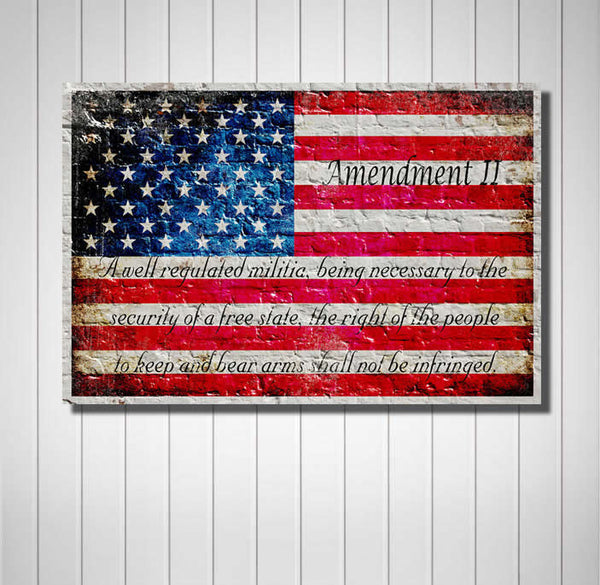 American Flag & 2nd Amendment Horizontal Print on Canvas Hung on Wall