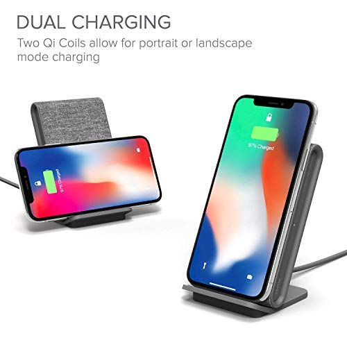 Australia iOttie iON Wireless Fast Charging Stand || Qi-Certified Charger 7.5W for iPhone Xs Max R 8 Plus 10W for Samsung S9 Note 9 | Includes USB C Cable & AC Adapter | Ash