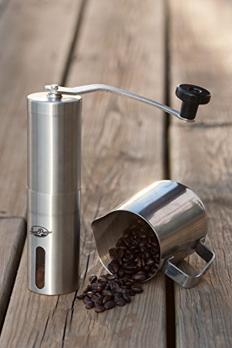 JavaPresse Manual Coffee Grinder, Conical Burr Mill, Stainless Steel