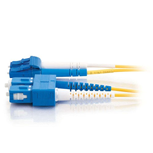 C2G 26260 OS2 Fiber Optic Cable - LC-SC 9/125 Duplex Single-Mode PVC Fiber Cable, Yellow (6.6 Feet, 2 Meters)