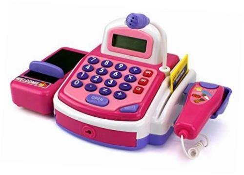Australia Lvnv Toys @ Activity Learning Family Battery Operated Electronic Cash Register Toy Pretend Play Microphone, Scanner, Money and Credit Card, Groceries With Sound Pink