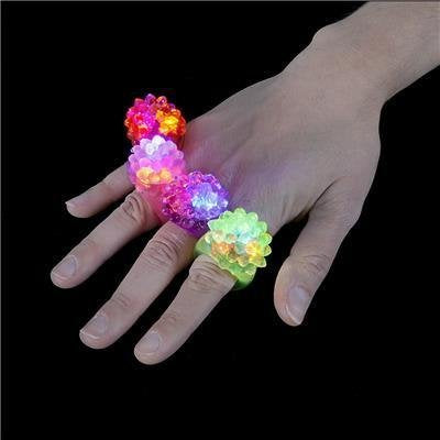 Australia 24 Assort Color Flashing LED Soft Silicone Bumpy Ring Light up Party Favors Bag Fillers