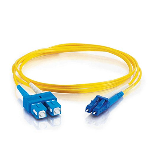 C2G 29920 OS2 Fiber Optic Cable - LC-SC 9/125 Duplex Multimode PVC Fiber Cable, Yellow (9.8 Feet, 3 Meters)