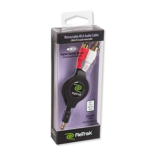 ReTrak Retractable Auxiliary to RCA Cable, Colors May Vary (ETCABLERCA35)