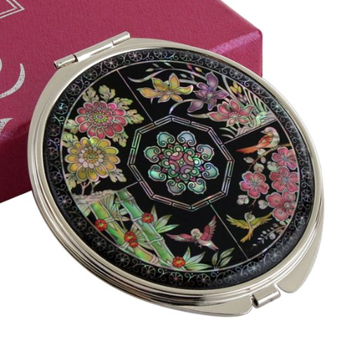 Mother of Pearl Four Noble Plants Double Compact Magnifying Cosmetic Makeup Purse Pocket...