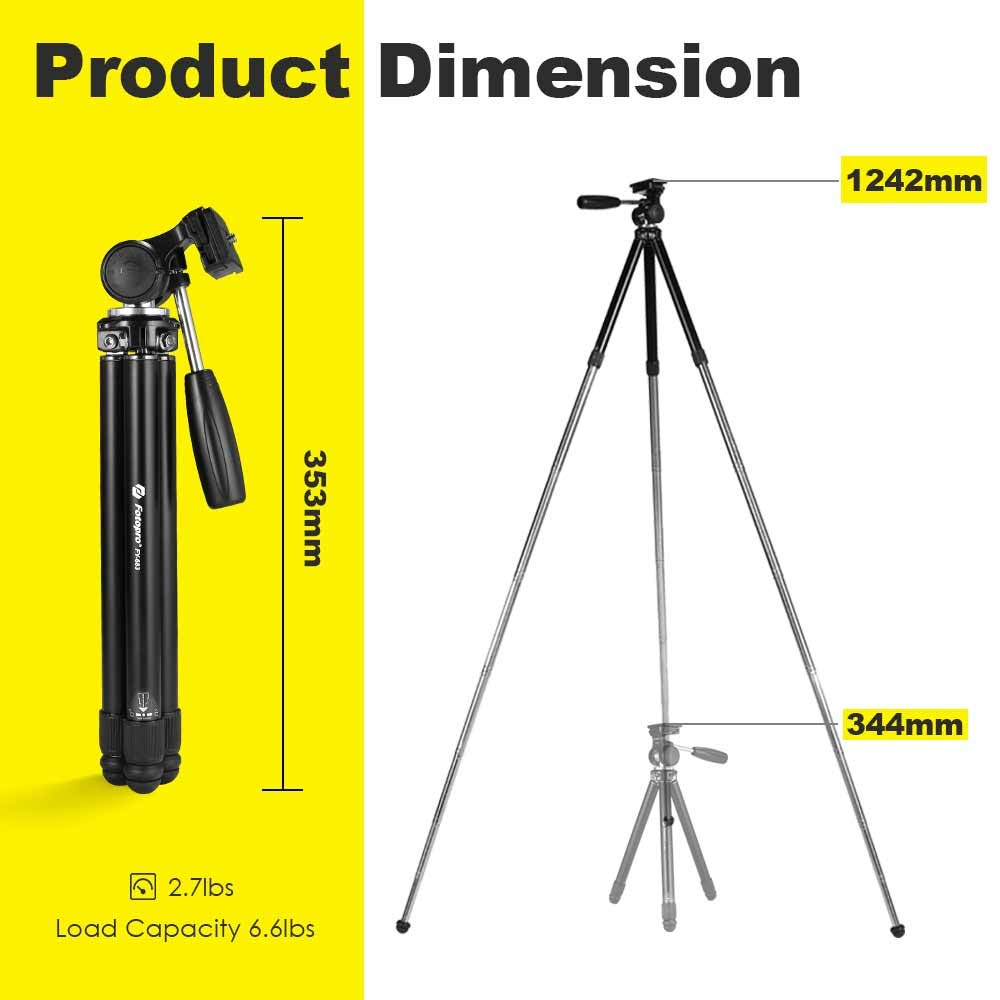 Phone Tripod,Fotopro Camera Tripod 48 9 Inch with Phone