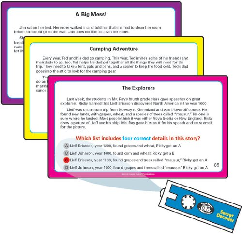 Super Duper Publications Reading for Details in Stories Fun Deck Flash Cards with Secret Decoder Educational Learning Resource for Children