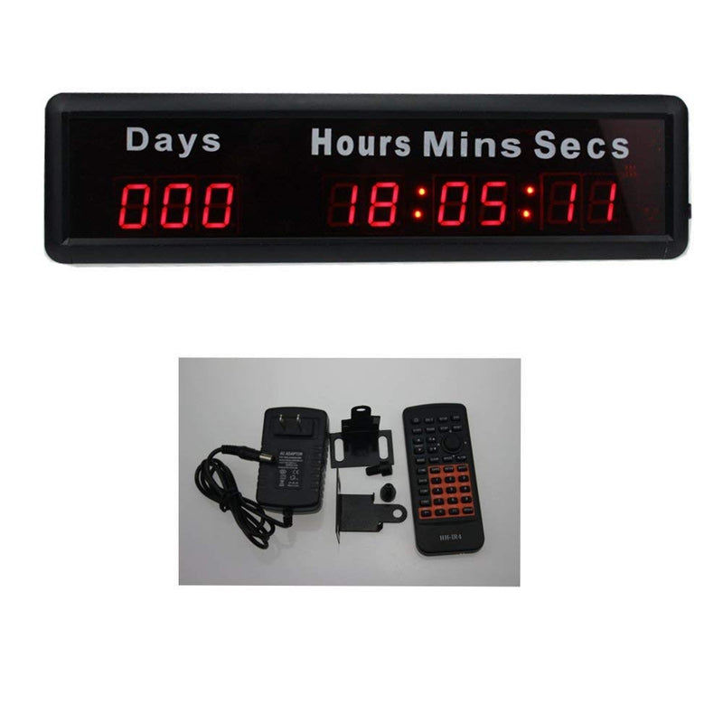 AZOOU 1-inch 9Digits LED Event Timer Countdown/up Clock with Days Hours Mins Secs Max Up to 1000 Days Red Color