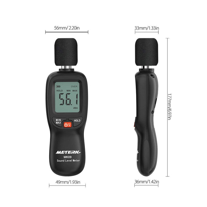 Decibel Meter,Meterk Digital Sound Level Meter, Range 30-130dB(A) Noise Volume Measuring Instrument Self-Calibrated Decibel Monitoring Tester(Battery Included)