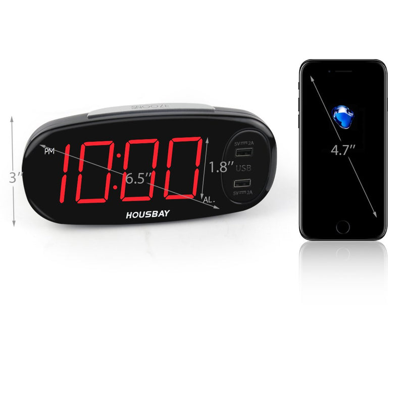 "Australia Housbay Digital Alarm Clock with Dual USB Charger, No Frills Simple Settings, Easy Snooze, 6.5"" Big LED Alarm Clocks for Bedrooms with Dimmer, Outlets Powered"