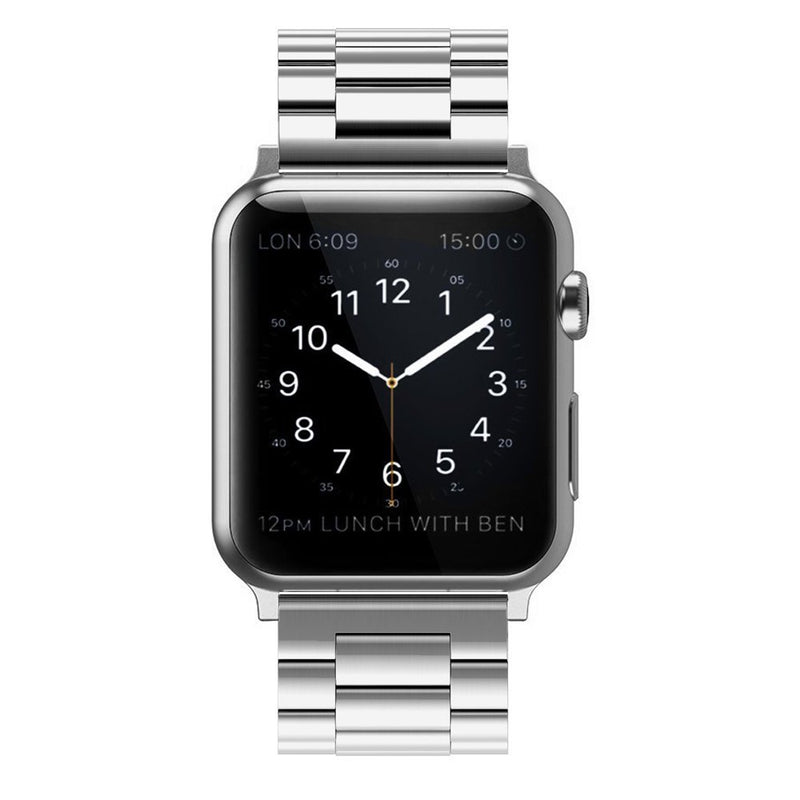 Australia Simpeak Stainless Steel Band Strap Compatible Apple Watch 38mm 40mm Series 1 Series 2 Series 3 Series 4 - Large/Silver