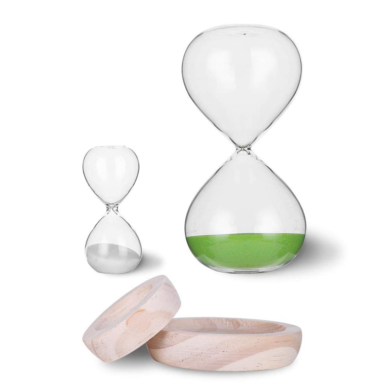 Hourglass Sand Timer Set-30 Minute & 5 Minute Timer Sets-Sand Clock Timers for Room Kitchen Office Decor -Time Management Tool with Wooden Base Stand