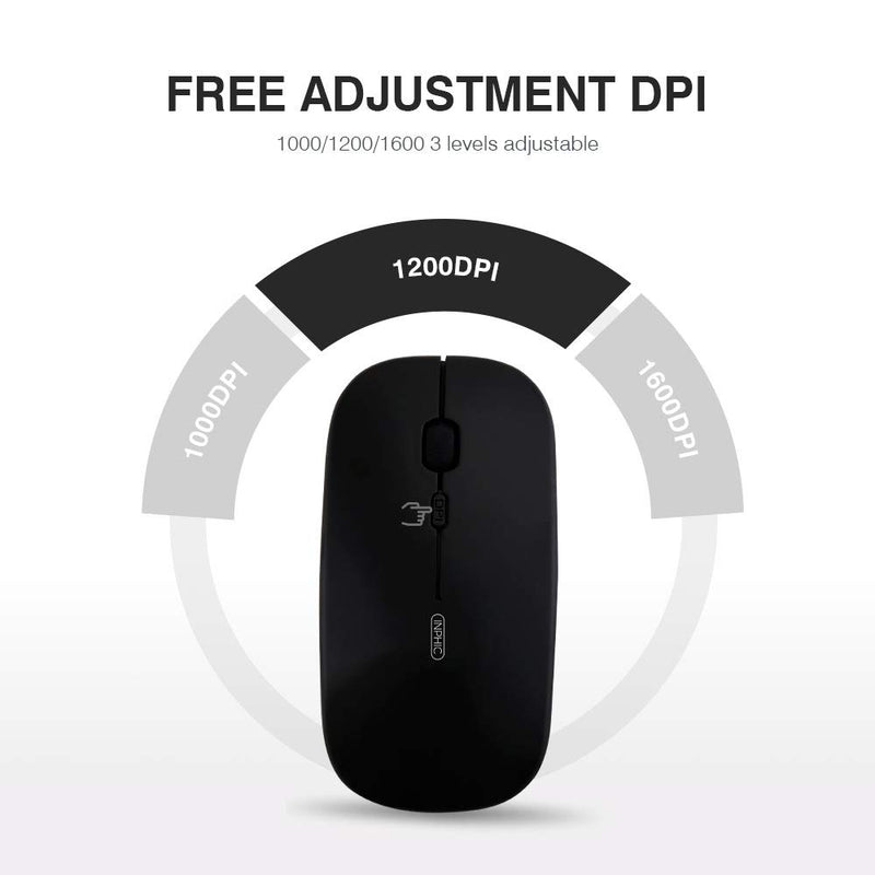 Australia inphic Wireless Mouse, Rechargeable 2.4G Ergonomic Wireless Mice 1600DPI Mini Optical Portable Travel Cordless Mouse with USB Receiver for PC Laptop Computer Mac MacBook (Black Plating)
