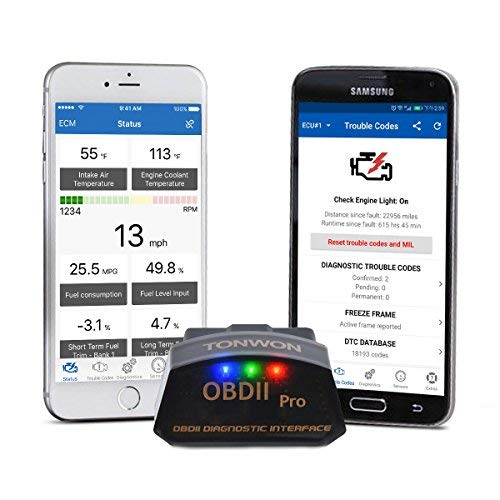 TONWON Car OBD2 Code Readers, OBDII Bluetooth Scan Tool Car Diagnostic Tool Vehicle Scanner for iOS and Andiord pro4.0 iOS and Android