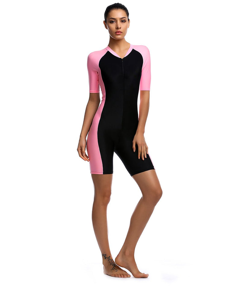 BELLOO Swimsuit for Women One Piece Short-Sleeve Surfing Suit Sun Protection