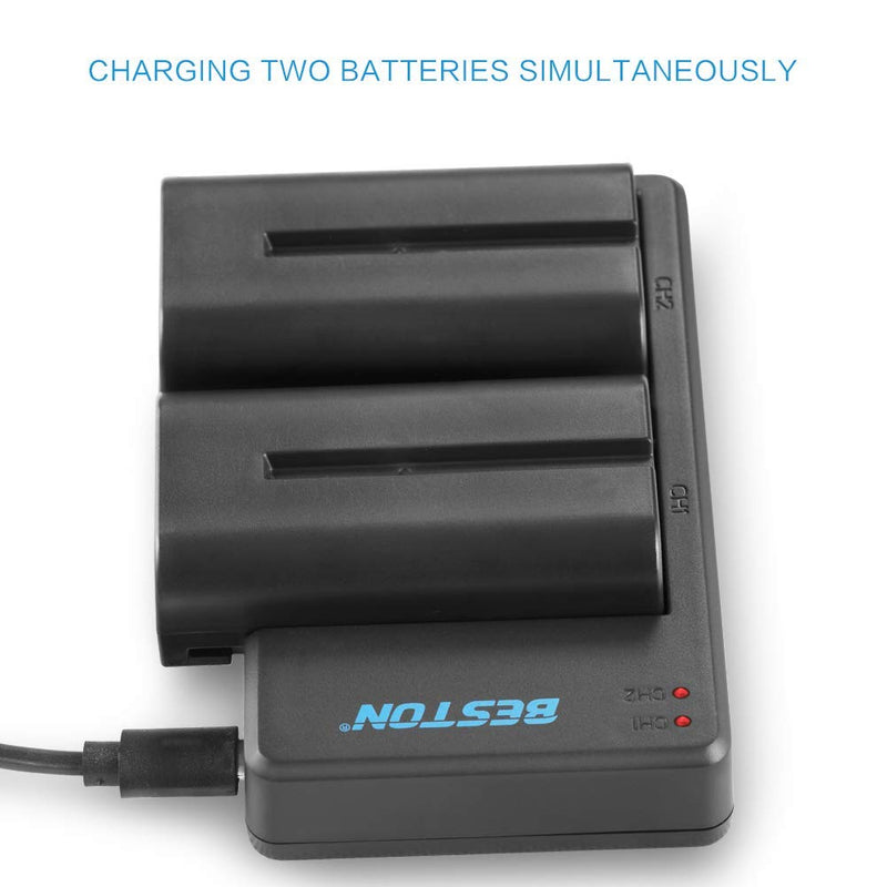NP-F550 BESTON NP F550 Battery Charger Set for Sony NP-F970 NP-F750 F530 F570 F330 F960 F770 (2 Pack Li-ion Batteries, Micro USB Charger)