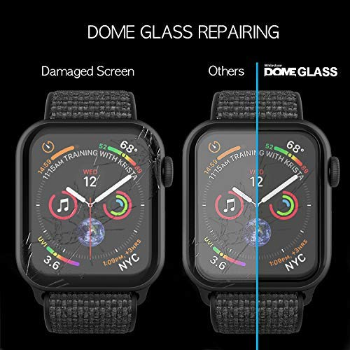 Apple Watch 40mm Screen Protector, [Dome Glass] Liquid Adhesive for Full Coverage Tempered Glass and Protection by Whitestone for The Apple Watch Series 4-2 Pack Glass
